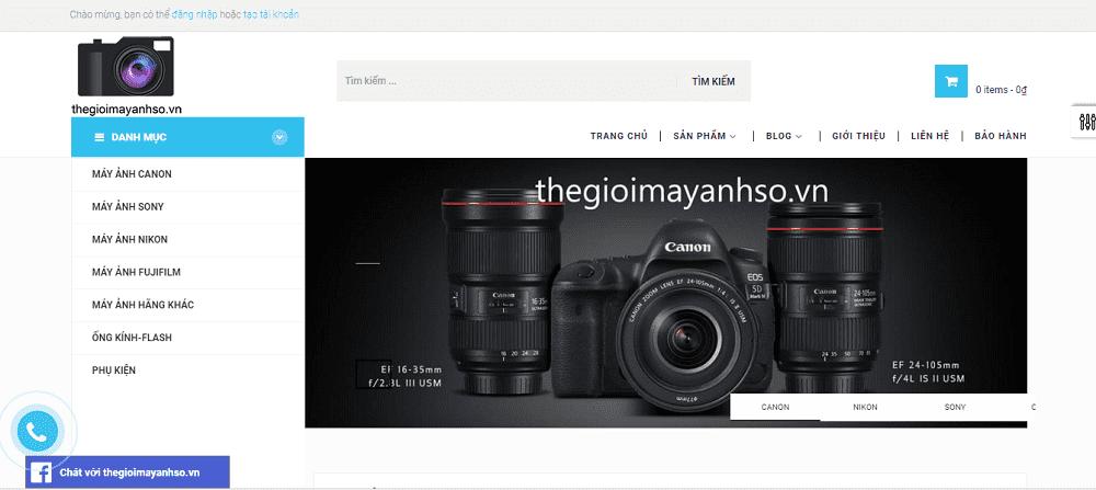 thiết kế webiste bán hàng máy ảnh máy quay