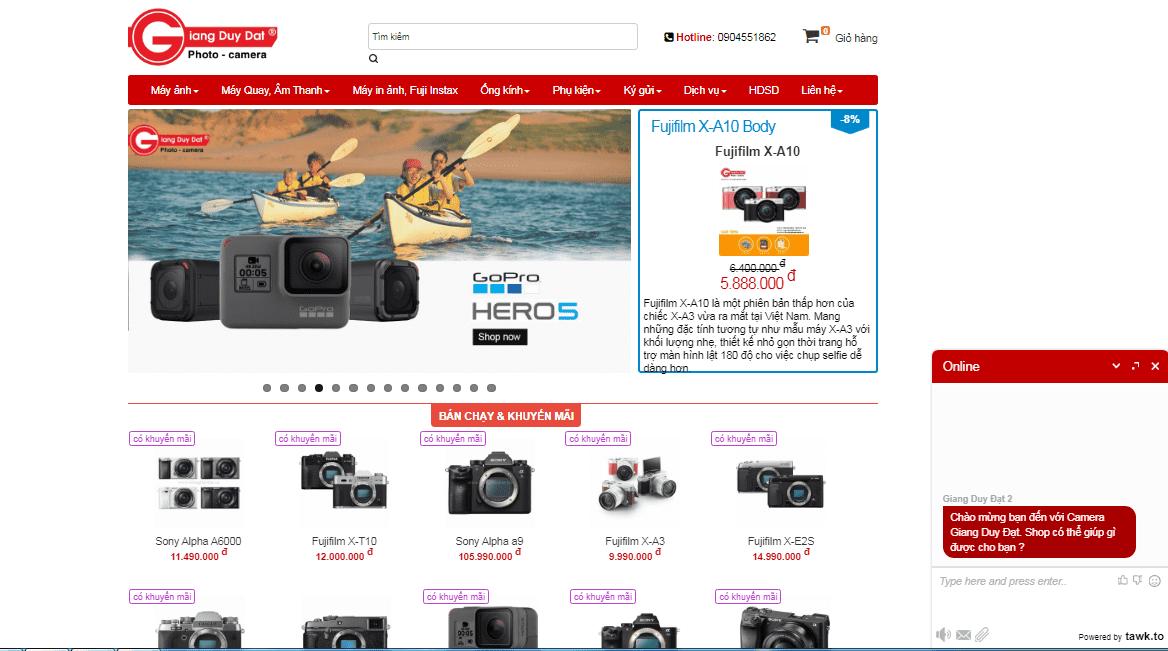 thiết kế website bán hàng máy ảnh, máy quay